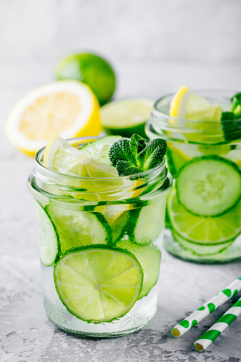 Ginger drink with cucumbers and mint