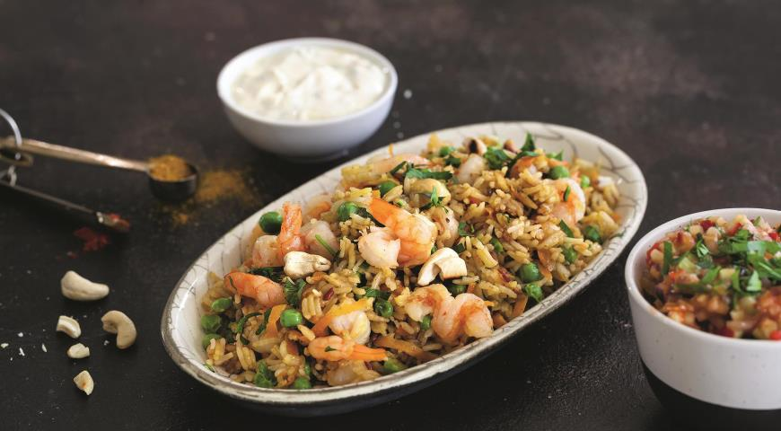 Indian rice with shrimps in 15 minutes