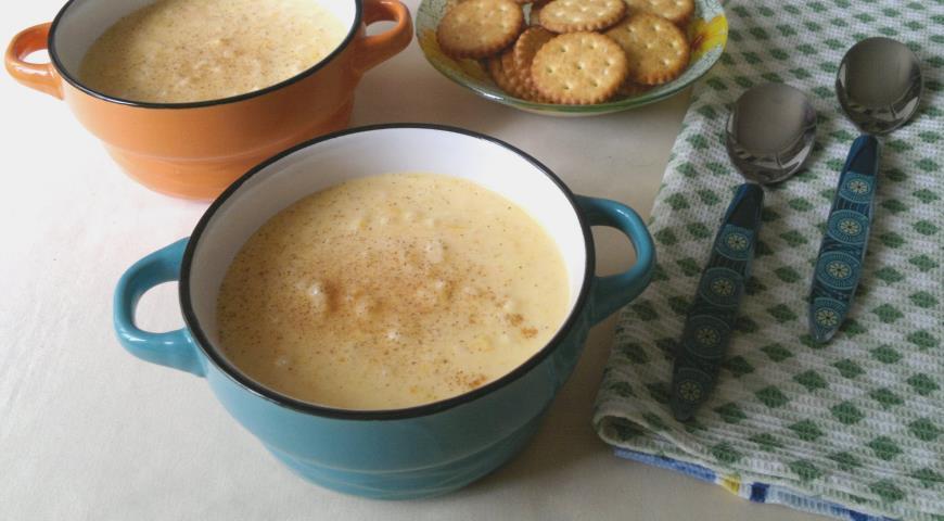 Delicate milk rice porridge with pumpkin
