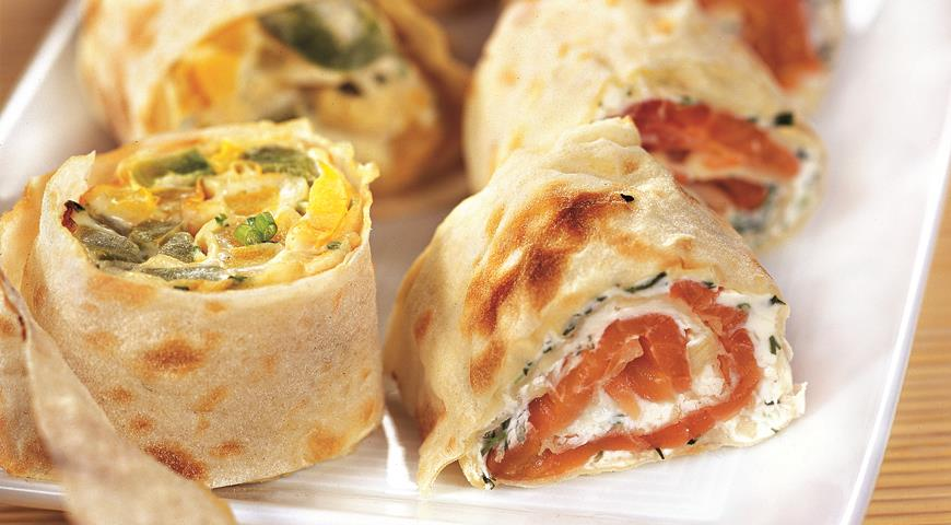 Lavash rolls with different fillings