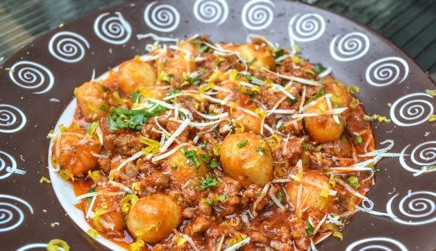 Potato balls in bolognese sauce