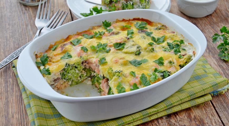 Trout and broccoli casserole