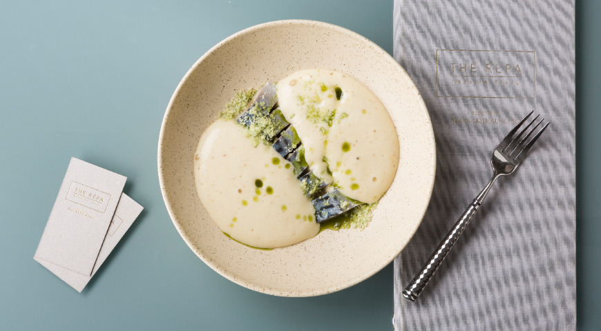 Mackerel with potato soup and dill oil