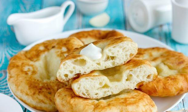 Langos made from potato yeast dough