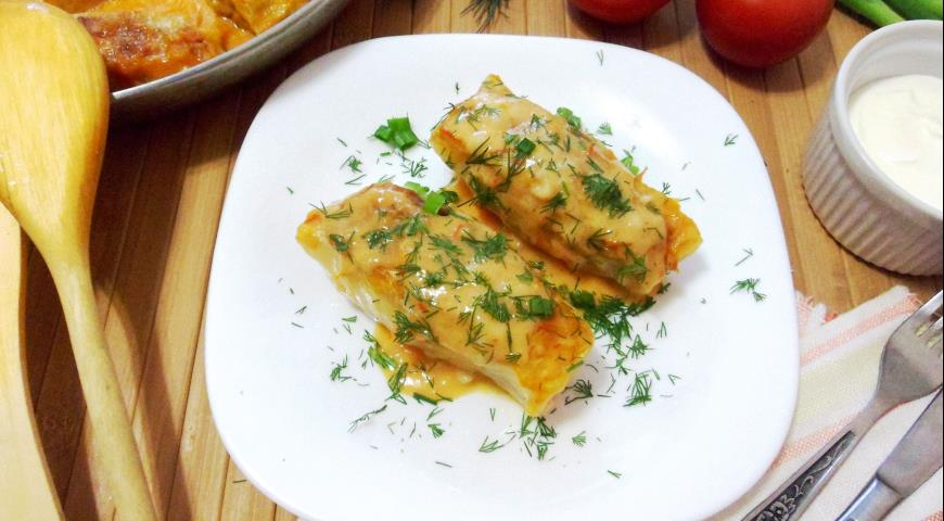 Stuffed cabbage rolls baked in the oven