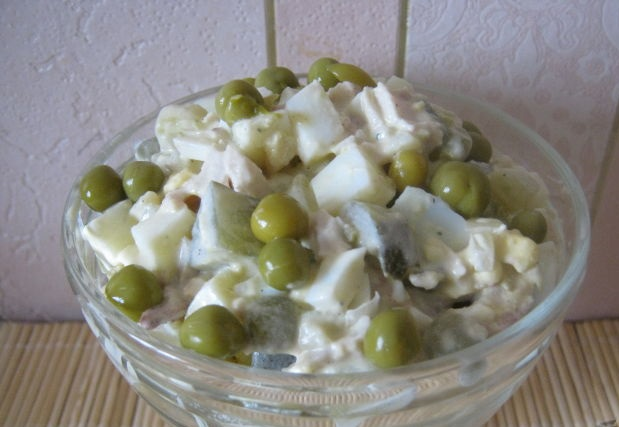 Chicken salad with potatoes and eggs