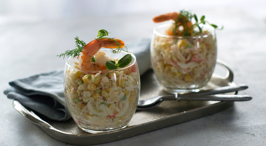 Salad with rice, corn and crab sticks
