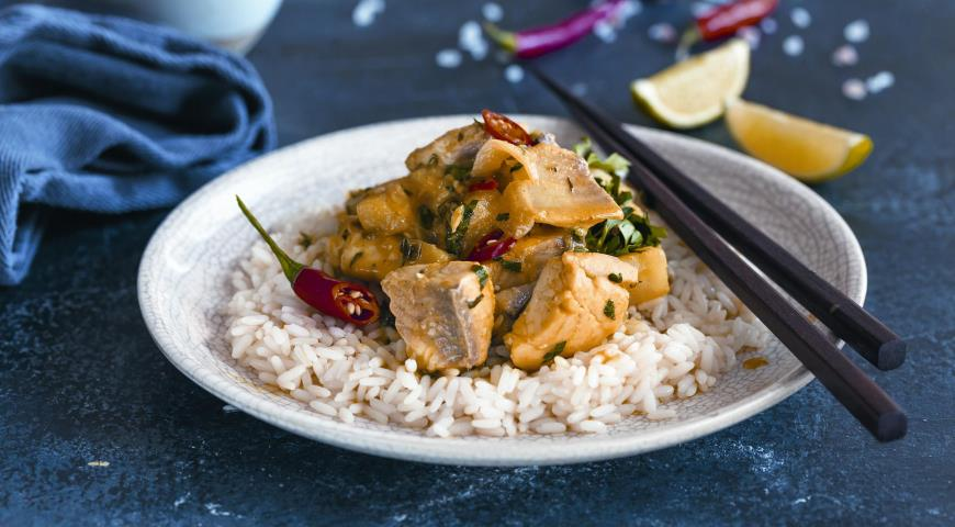 Thai fish curry with potatoes