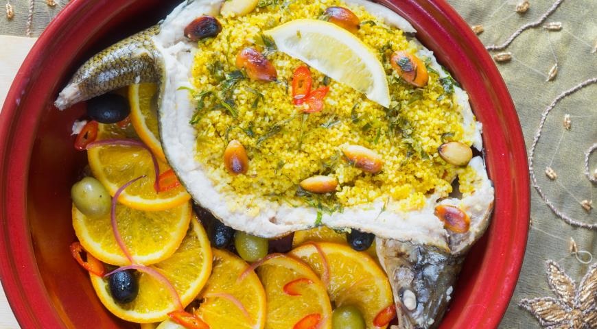 Whitefish in Moroccan in tagine