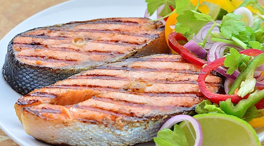 Grilled trout with spring salad