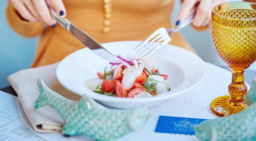 Halibut salad with Baku tomatoes