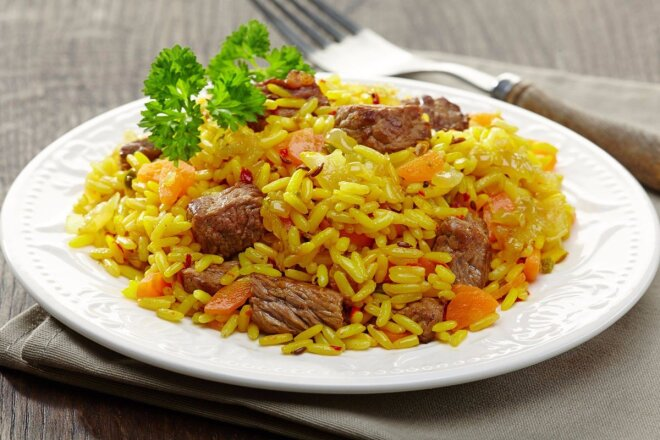 Hearty Pilaf with Beef in a Pan