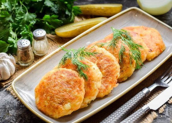 Potato zrazy stuffed with pickled cucumbers and carrots