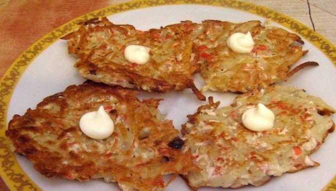 Potato pancakes with crab sticks