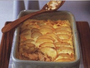 Potato casserole with pickled salmon