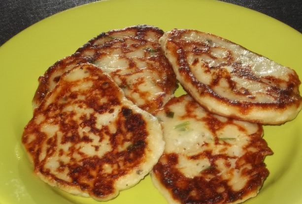 Potato pancakes with zucchini and herbs