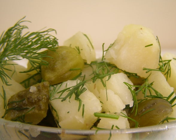 Potato salad with pickled cucumbers and dill