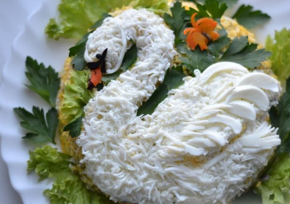 White Swan salad with chicken and potatoes