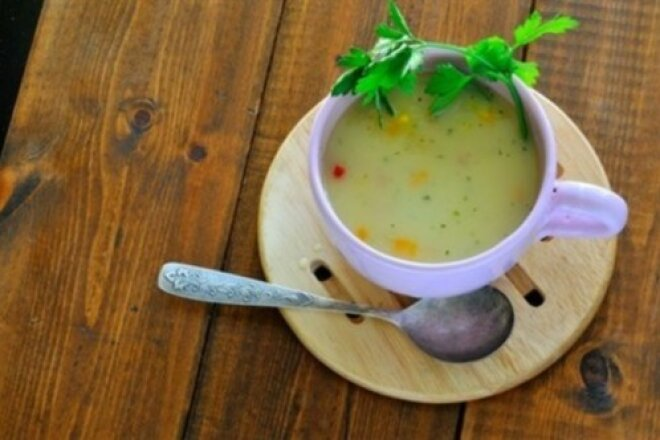 Milk cod soup with pepper and celery
