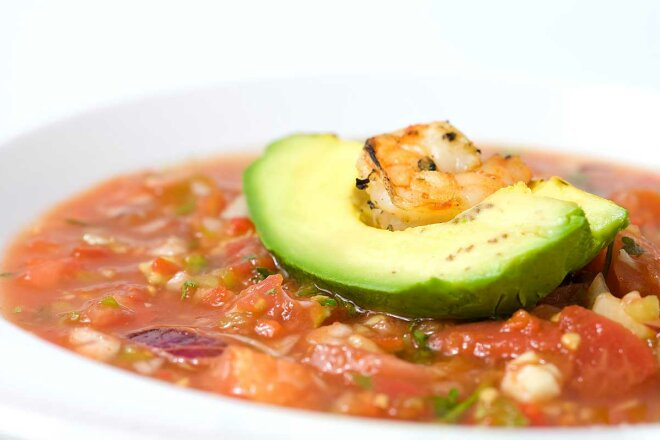 Gazpacho with avocado and herbs