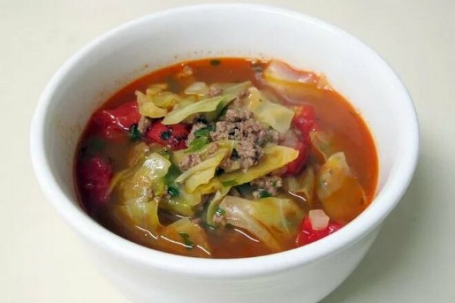 Hearty soup with vegetables and minced meat