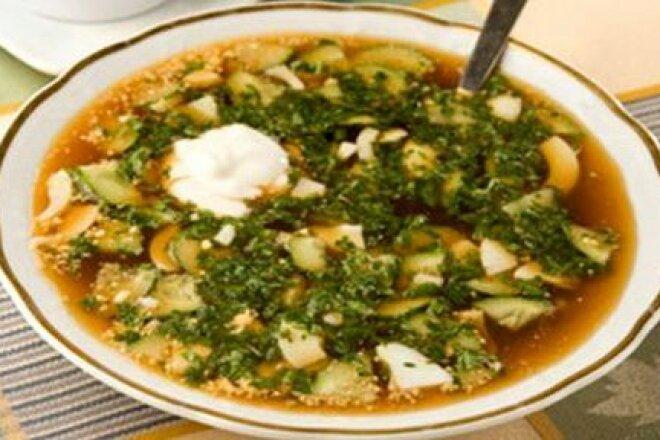 Vegetable okroshka with squid on kvass