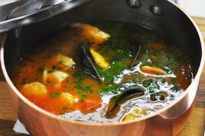 Italian ukha with seafood