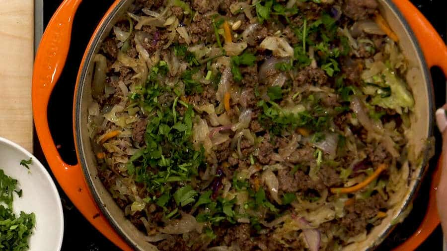 Stewed cabbage with ground beef