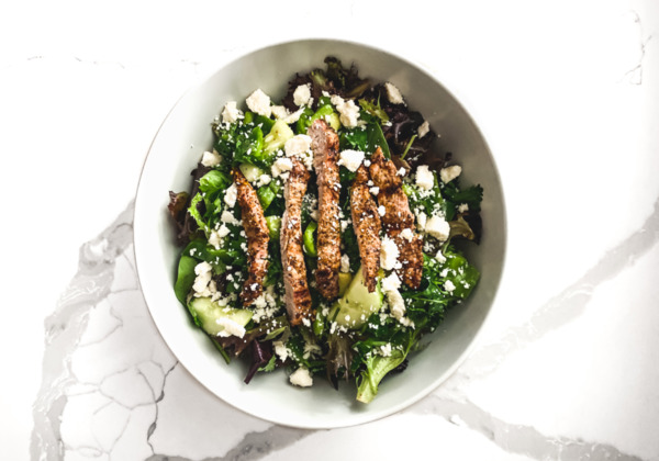 Keto salad with white cheese and pork ribs