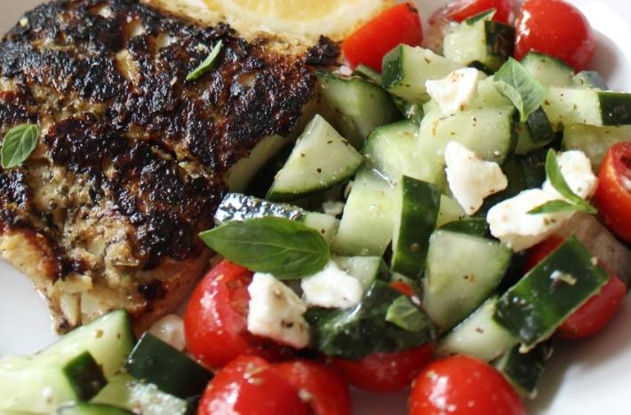 Keto salad with fried cod