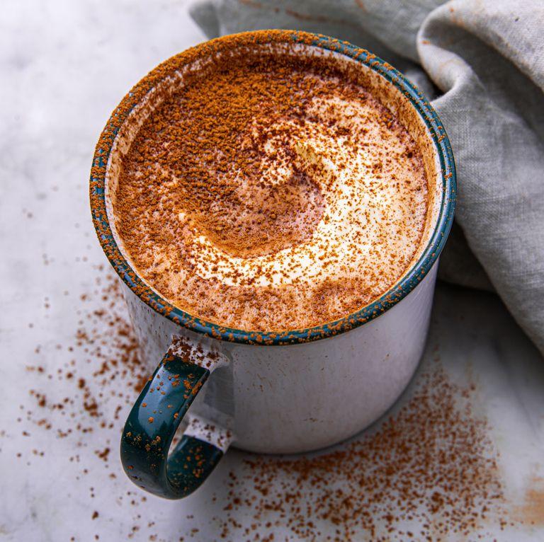 Hot keto cocoa with heavy cream