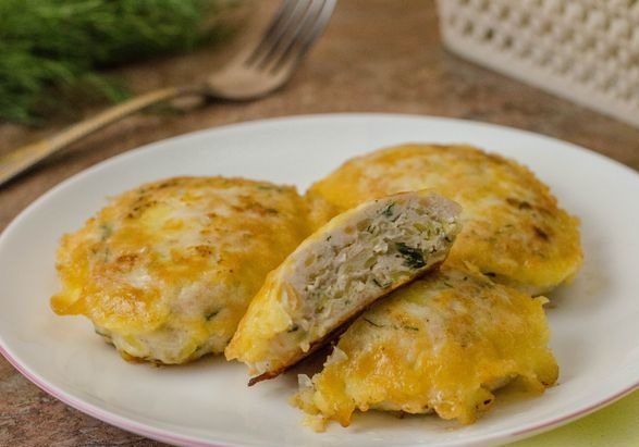 Chicken cutlets with potatoes fried in batter
