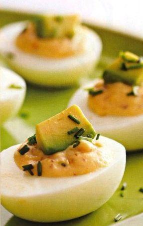 Stuffed eggs with avocado