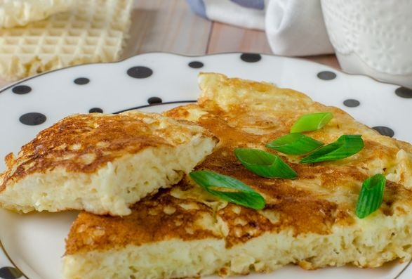 Omelet with waffle cakes