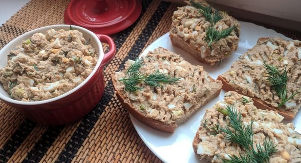 Homemade sprat and canned beans pate with boiled eggs