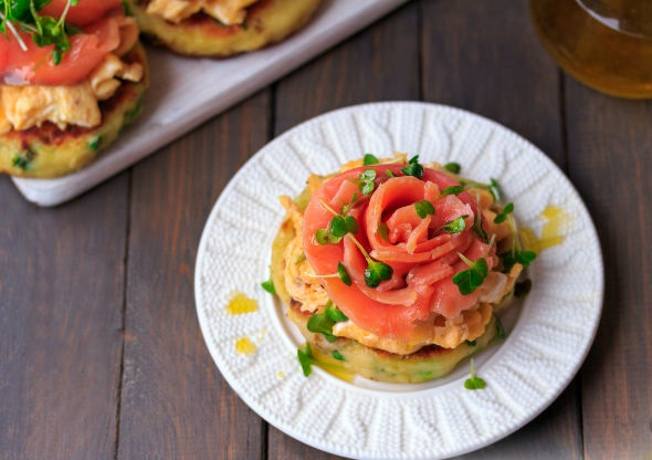 Potato scones with scrambled eggs and salmon