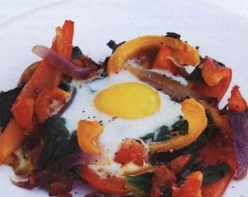 Eggs baked with tomatoes and peppers