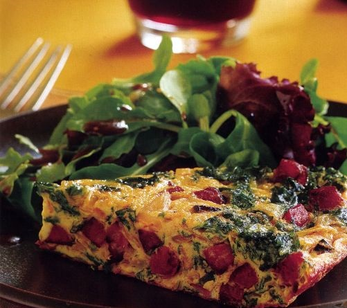 Frittata with kale and chorizo