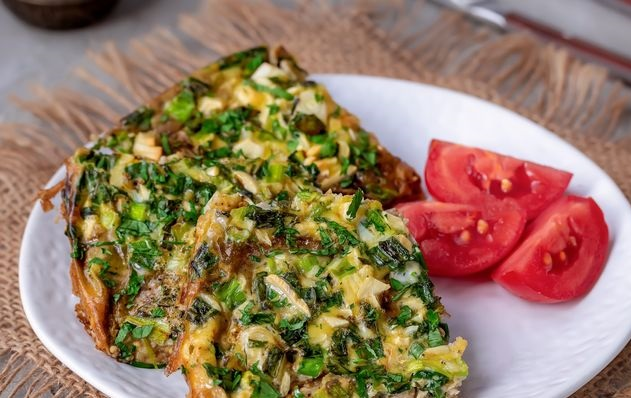 Eggplant and green onion omelet (oven)
