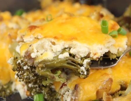 Fish keto casserole with broccoli