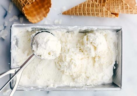 Keto ice cream made from coconut milk