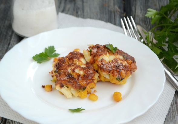 Egg cutlets with canned corn