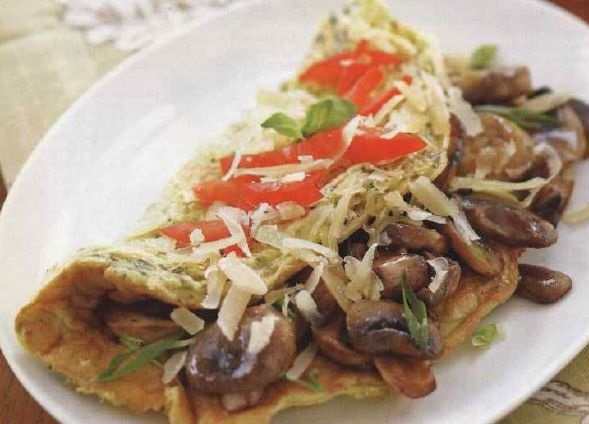 Tasty Omelet with mushrooms