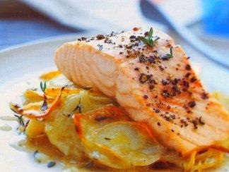 Best Baked potatoes with onions and salmon