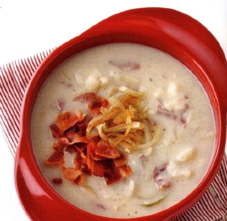 Mashed Potato Soup with Onion and Bacon