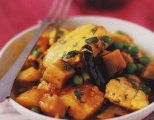 Spicy potato, eggplant and fish stew