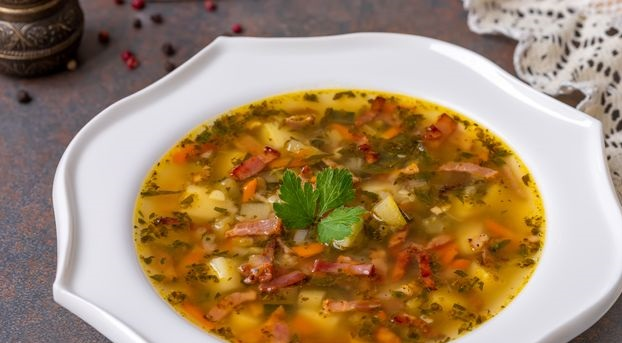 Best Potato soup with zucchini, celery and bacon