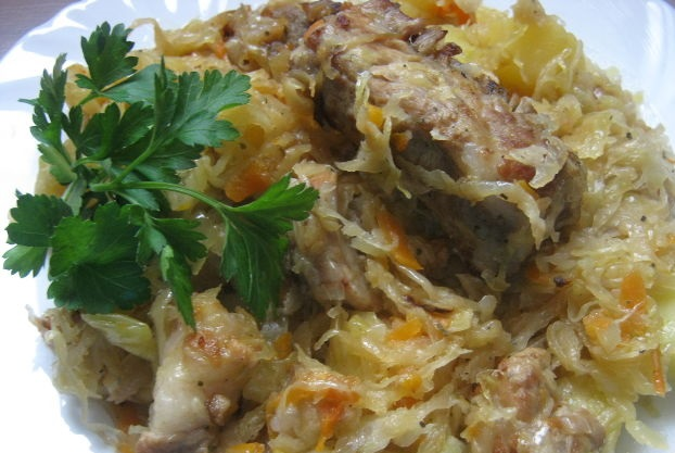 Stewed cabbage with meat and potatoes