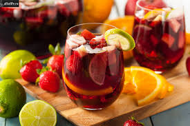 Carbonated sangria with mineral water