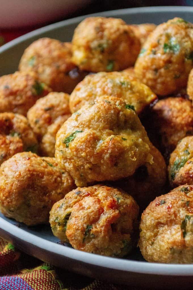 Keto minced chicken meatballs